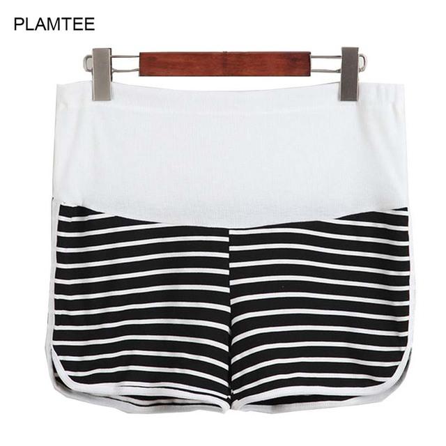 Casual Pantalones Cortos de Maternidad del Vientre de Atención con Rayas Embarazo Pantalones Cortos Ropa para Mujeres Shorts M-2XL Embarazada Más El Tamaño de Los Pantalones Cortos
