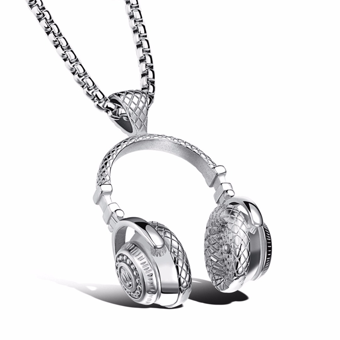 Black Neckalce Men Jewelry Shellhard Hip Hop Music Headphone Pendant Chain Necklace Silver Gold Long Choker Women Accessories