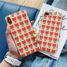 Vintage red tulip flower 6 6s case for iphone 8 7 plus 6splus floral scrub silicon soft cover xs max xr x 8plus