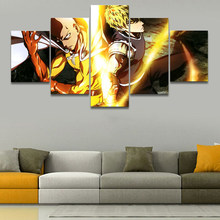Wall Art Canvas Painting Home Decor 5 Set One Punch Man Pictures Modern Animation Printed Poster For Boys Room Modular Framework(China)