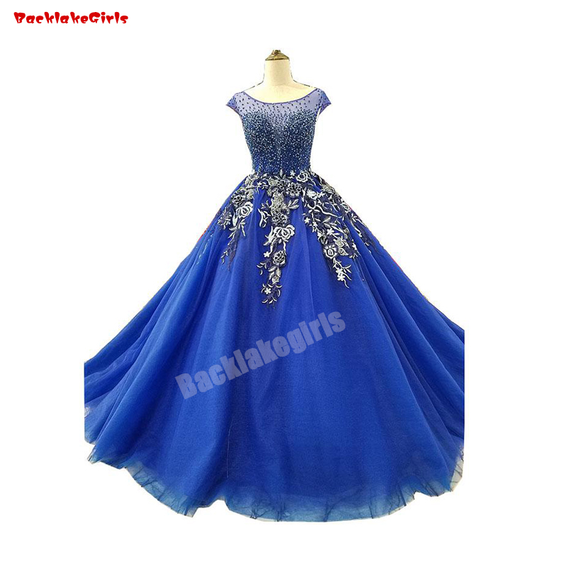 31219 Wedding Dress Royal Blue Color Crystal Beading French Lace Applique 3D Flower Lace Wedding Gown