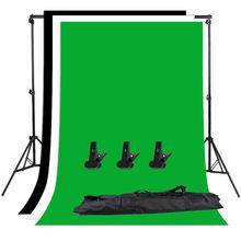 Zuochen Fotostudio Achtergrond Ondersteuning Stand Kit 1.6*3M Zwart Wit Groen Achtergrondscherm Set 2*2M Achtergrond Stand Voor Video