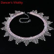 새로운 밸리 댄스 의상 보석 크리스탈 라인 석 밸리 댄스 벨트 웨이브 프린지 허리 체인