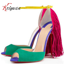 Plus size 35 43 Summer new arrival Sexy Women Sandals cow split tassel party Shoes genuine
