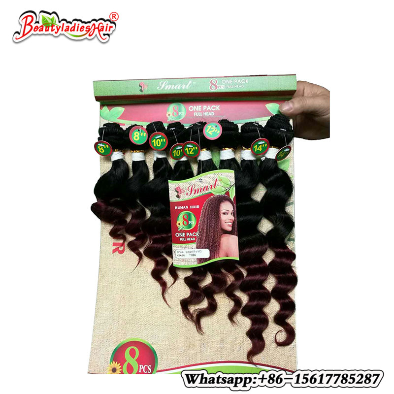 8pcs/lot 100% crochet curly hair Ombre Blonde/BUG Brazilian bulk Kinky Curly Hair two Tone Ombre kinky curly weave