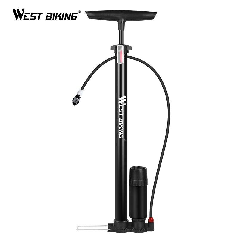 Pompe à vélo de vélo ouest avec jauge corps en acier 160 PSI Schrader/Presta Valve vélo pompe à Air gonfleur aiguille pied pompe à vélo