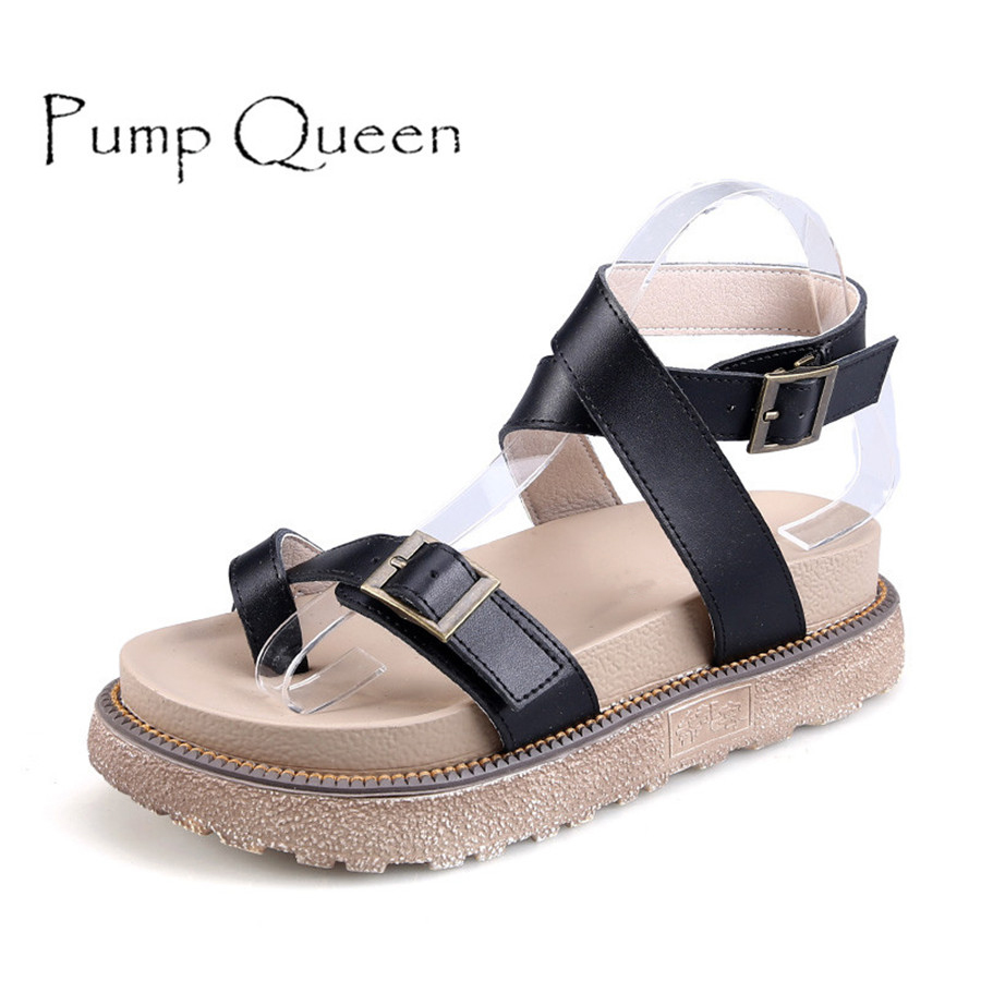 PumpQueen Women Sandals 2018 Casual Summer Shoes Mujer Gladiator Flip Tops 3 Colors Female Plus Size Ladies Sandle size 42 43