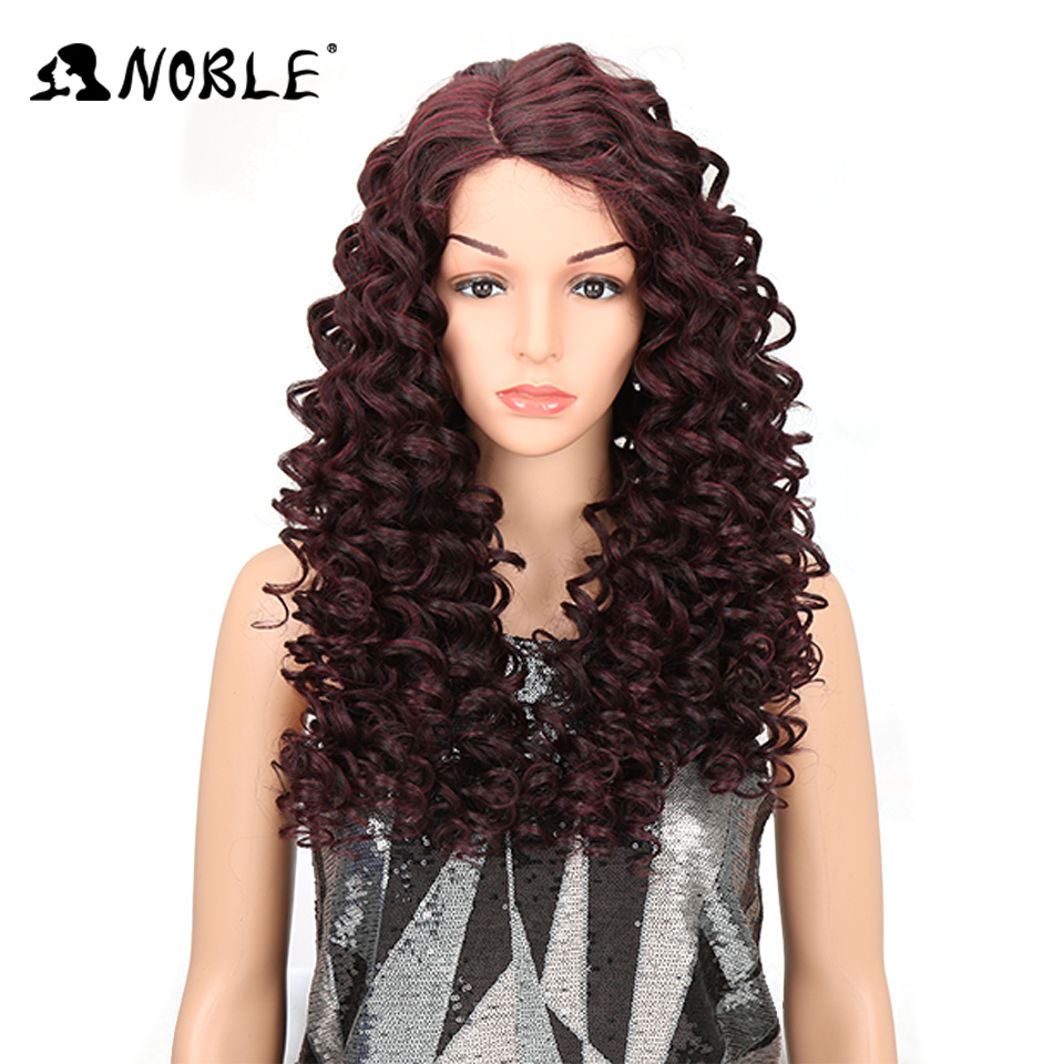 Noble Kinky Curly Synthetic Wigs Blonde Brown Mixed Color 26Inch Lace Front Wig For Women Heat Resistant For Cosplay Daily Wear
