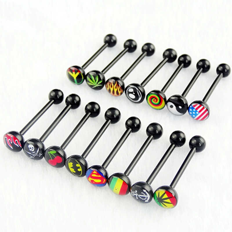 1 Pc Black Acrylic Batman Superman Tongue Ring Labret Ring Noctilucent Maple Nipple Bar Ring Barbell Body Piercing Jewelry