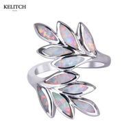 KELITCH Jewelry 1Pcs New Arrival Elegant Women S Opal Rings Attractive Fire Cloud Double Leaves Opal