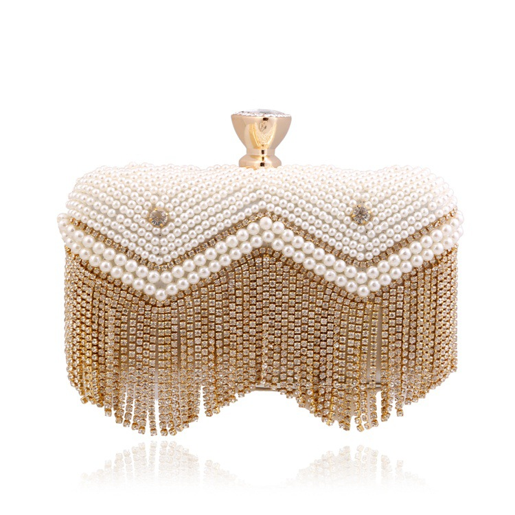 2018 Women's Vintage Evening Clutch with Beautiful Tassel and Shining Pearls, Handbags with Detachable Chain for Wedding