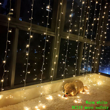 3 X 3M 300 LED Curtain Light Garland Fairy Icicle String Outdoor Holiday Christmas Decorative Wedding Xmas Home Decoration