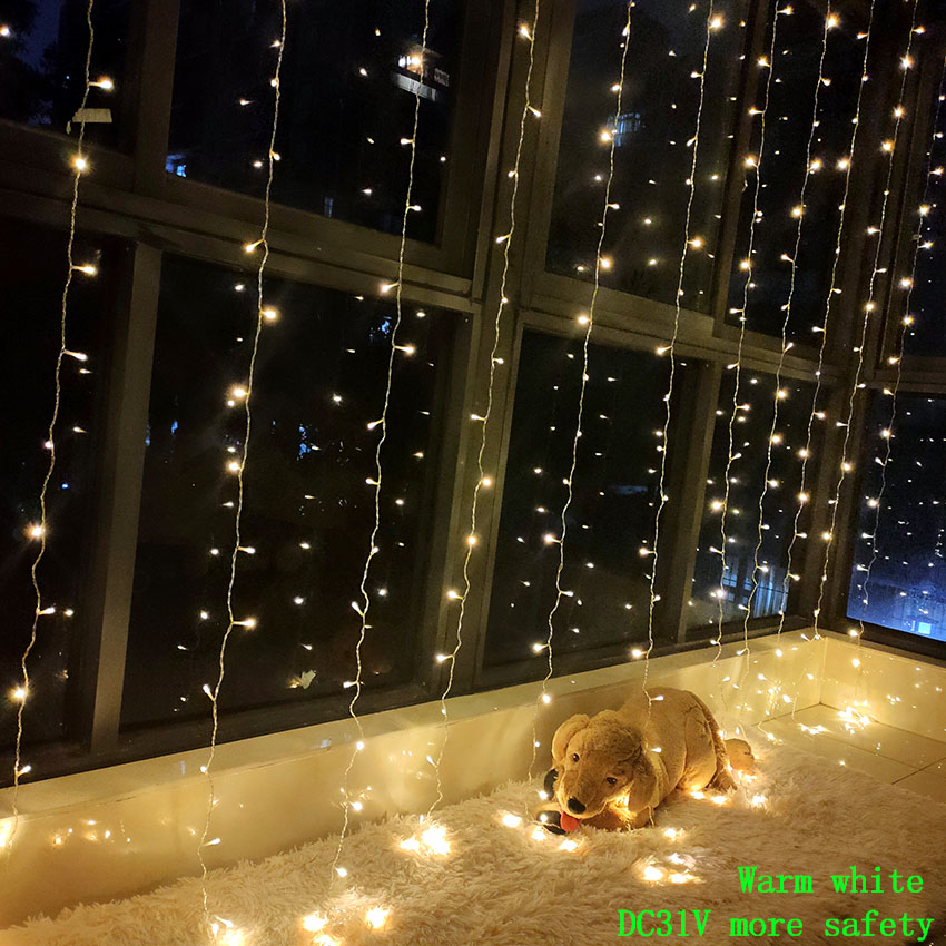 3M X 3M 300 LED Fairy Curtain light Garland strip led string lights Outdoor Holiday Christmas Decorative Wedding Xmas light-in LED String from Lights & Lighting