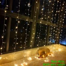 цена на 3M X 3M 300 LED Fairy Curtain light Garland strip led string lights Outdoor Holiday Christmas Decorative Wedding Xmas light