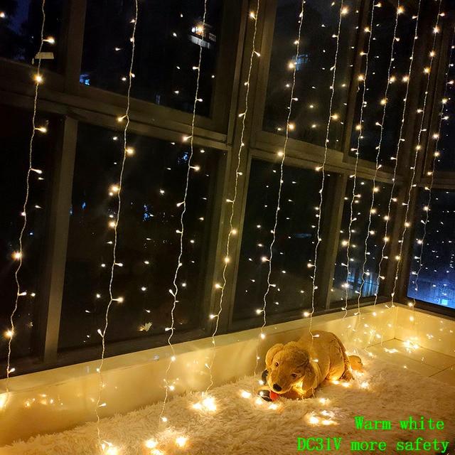 3X3 متر 300 LED ستار مصابيح جارلاند الجنية جليد سلسلة في الهواء الطلق عطلة عيد الميلاد ديكور الزفاف عيد الميلاد ديكور المنزل