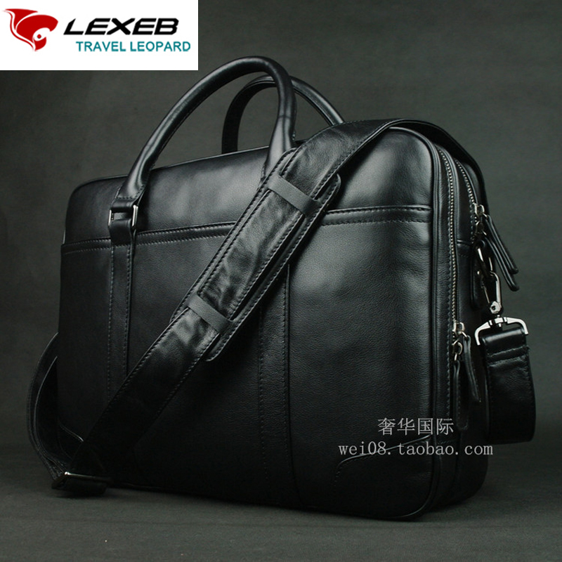 LEXEB Men's Black Leather Briefcase For 15 Inches Laptop Office Bag For Men Lawyer Handbag Double Zips Open Two Main Bags Hot lexeb brand lawyer briefcase vintage crazy horse leather men laptop bag 15 inches high quality office bags 42cm length brown