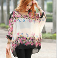 Alishebuy Мода Женщины Девушки Цветочный Печати Batwing Dolman Рукавом Повседневная Свободную Рубашку Шифон Блузка Топы