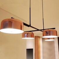 4 головки постмодерн розовое золото Ресторан крышка подвесной светильник творческий Поворотный руки Обеденная подвесной светильник с свет