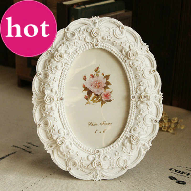 European Style White Photo Frame 6 Inch Frames Resin Decoration Accessories Stereo Roses Decorated Wedding Gift Hot Sale X $