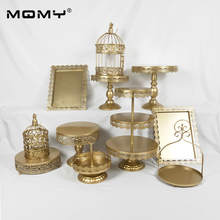 11 pcs/set Wedding Cupcake Gold Set 3 Tier Birdcage Iron Cake Stand