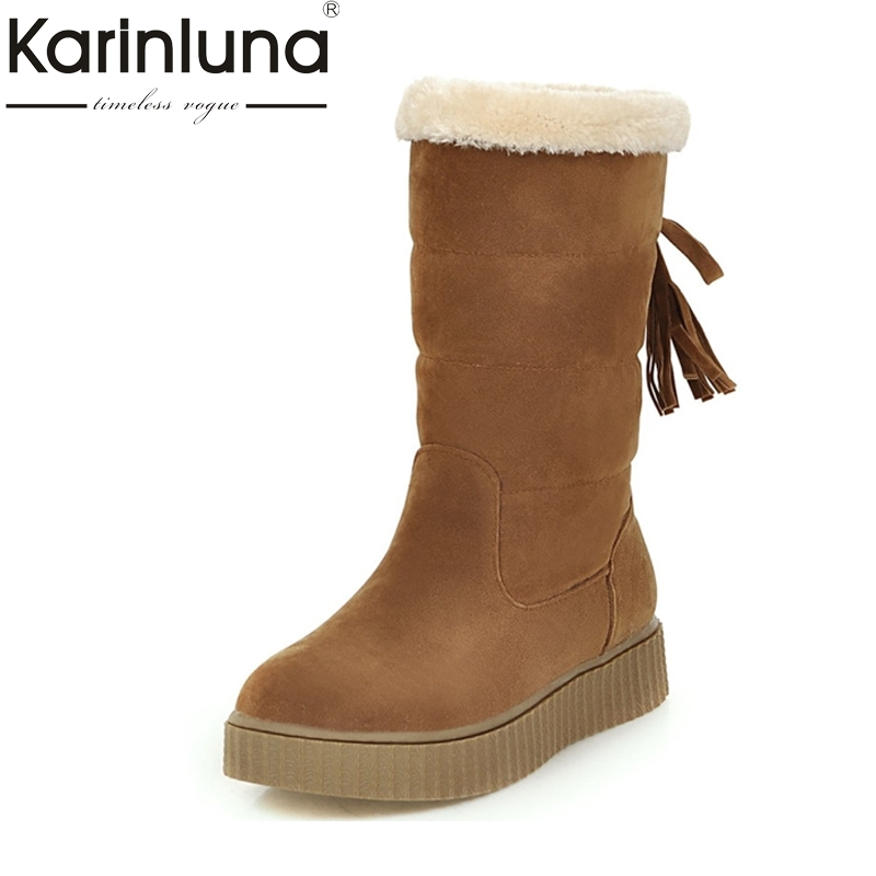 KarinLuna 2017 New Big Size 33-43 Tassel Snow Boots Women Thick Bottom Flat heel Casual Women Shoes Woman Winter Fur Warm Plush short boots woman the fall of 2017 a new restoring ancient ways british wind thick boots bottom students with martin boots