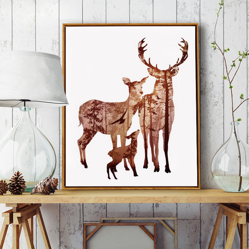 US $13.99 5% OFF|Elk modern minimalist Nordic painting living room  decorative painting bedroom wall paintings restaurant murals porch  picture-in ...