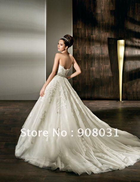 Backless strapless ball gown chapel embroidery custom made asian ...