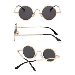 Image 3 - SPLOV בציר ראפ משקפי שמש גברים נשים קיטור פאנק בסגנון היפ הופ קטן עגול מתכת מסגרת משקפי שמש רטרו Gafas דה סול עם מקרה