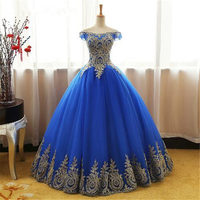 Quinceanera Dresses 2019 Royal blue fuchisia ball gown with gold appliques off the shoulder sweet 16 sixteen Quinceanera Dress