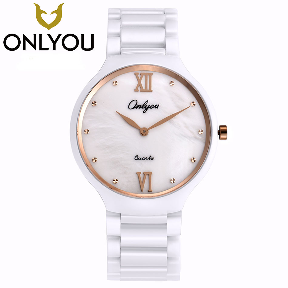 ONLYOU Luxury Fashion Couple Watches Quartz 50M Waterproof Watch Ceramics Dress Rose Gold Wristwatches Women Watches in Gift Box onlyou brand luxury fashion watches women men quartz watch high quality stainless steel wristwatches ladies dress watch 8892