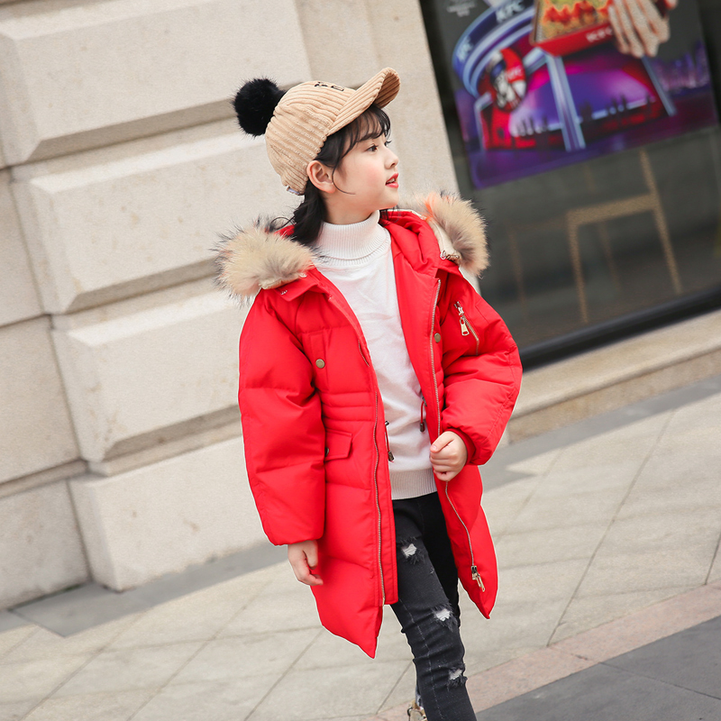 new 2018 children's Winter Down Jacket for girl clothes Parka Warm Jackets kids Long Section Hooded Fur Collar Coat -30 degree стоимость