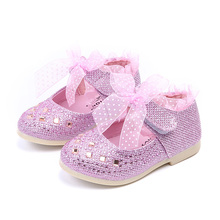 Новая обувь для детей для девочек, Весенняя детская обувь для маленьких девочек, детская обувь принцессы, размер кружева 21-30, розовый, серебристый, золотой