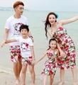 Бесплатная доставка семья наряды летом свободного покроя цветок женщина девушки красный жилет платье мальчиков устанавливает