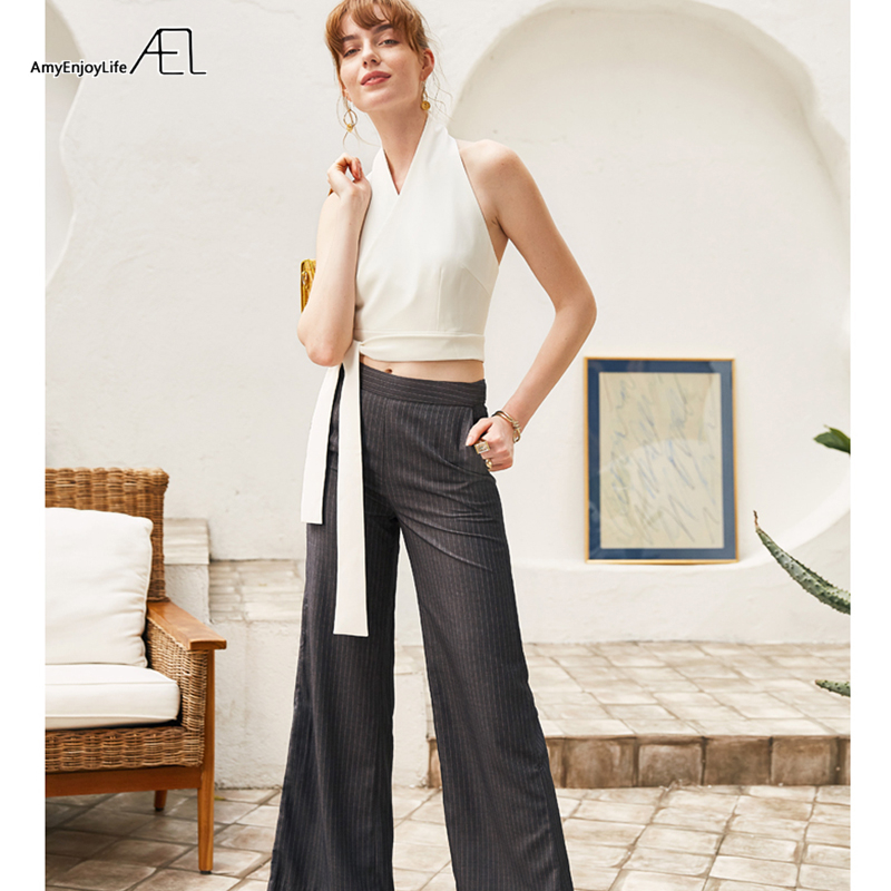 IOW Natural AEL セクシーなホルターネック女性ビスチェクロップエレガントな女性ネクタイウエストトップベスト白/黒