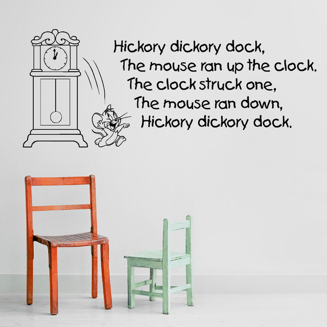 Hickory Ory Dock Quotes Wall Stickers For Baby Kids Nursery Rhyme Childrens Room Vinyl Art