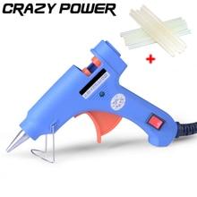 CRAZY POWER 20W Professional Hot Melt Adhesives Graft Repair Heat Glue Gun DIY Tools With 10pcs 7mmx200mm Black Glue Sticks