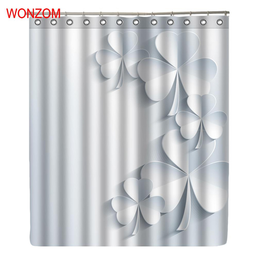 3D Bamboo Waterproof Shower Curtain Set with 12 Plastic Hooks Bathroom 180*180cm