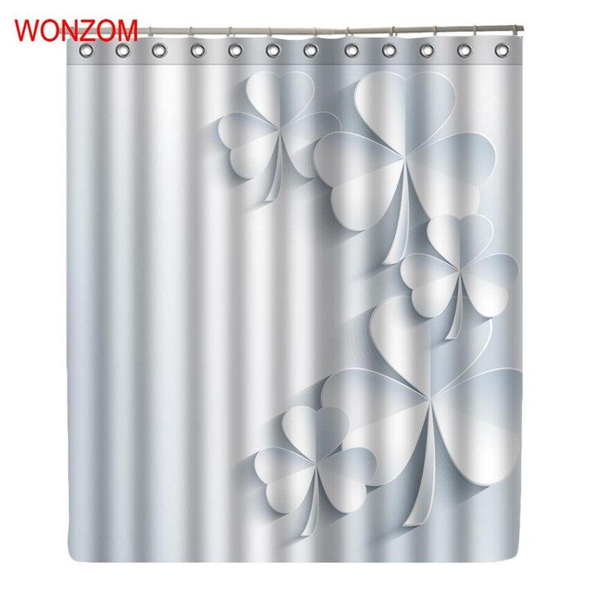 WONZOM 3D Clover Shower Bathroom Waterproof Accessories Curtains For Decor Modern Flower Bath Curtain with 12 Hooks Gift