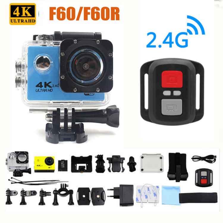 Ultra HD kamera akcji F60/F60R 4 K/30fps 16MP WiFi 170 stopni kamera na kask pod wodą 30 m nurkowanie wodoodporna kamera sportowa w Kamera sportowa od Elektronika użytkowa na  Grupa 1