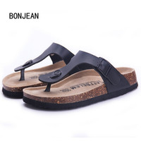 Free Shipping New 2015 Summer Women Flats Birkenstock Sandals Cork Slippers Casual Shoes Mixed Colors Beach