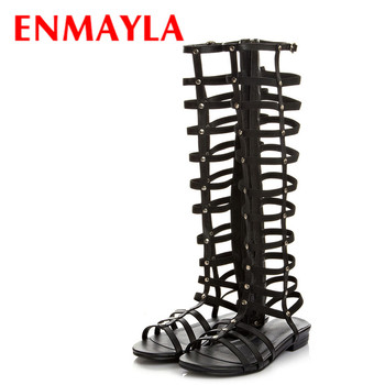 ENMAYLA Black Low Fashion Knee-High Boots Women Breathable Hole Female Boots High Leg Shoes Summer Boots Big Leather Boots