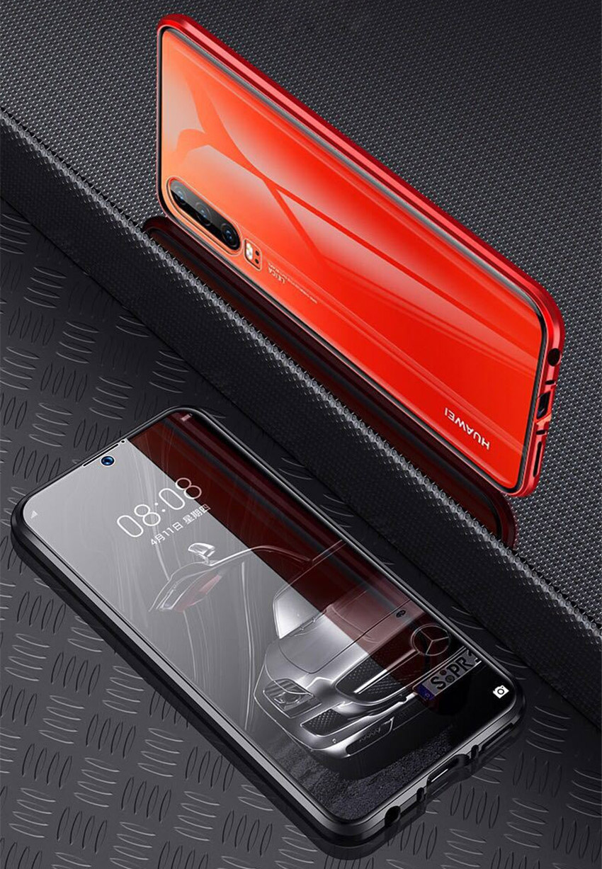 R-just Magnetic Metal Bumper Case for Huawei P30 Lite Tempered Glass Front Back Cover (2)