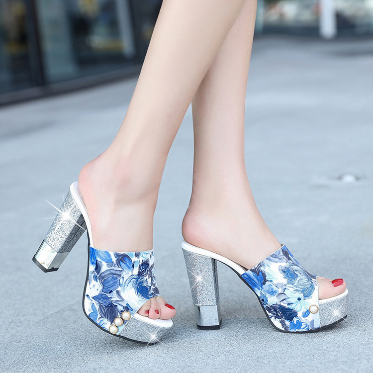 ФОТО Are all-match flowers with high heeled slippers pearl coarse female new summer thin waterproof fish mouth word drag