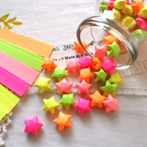 175 Pcs Lot Handcraft Origami Lucky Star Paper Fluorescent Colors MIX Craft Diy Papel Wishing Love Gratitude Wishes