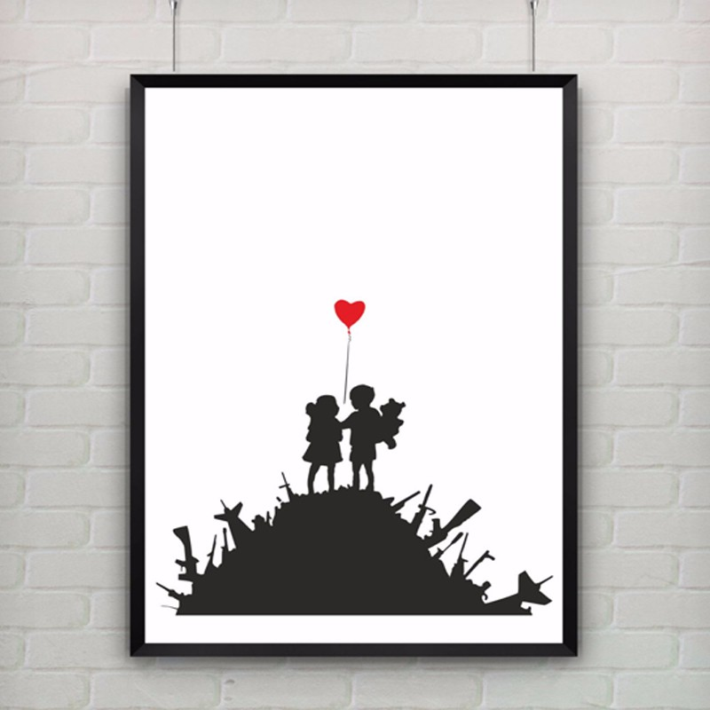 Us 5 59 30 Off Kids On Guns By Banksy Print Abstract Graffiti Canvas Painting Art Poster Canvas Art Wall Pictures Girl Kids Room Decor No Frame In