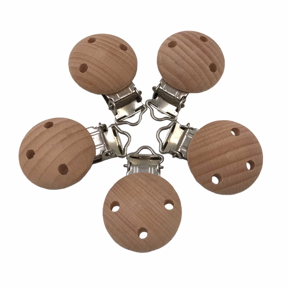 5pcs Baby Wooden Pacifier Clips Beech Wood Pacifier Clip Necklace Teether Toys Holder 30mm