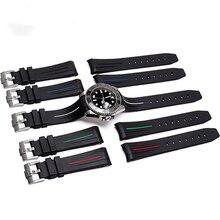 MERJUST 20mm שחור מעוקל סוף רך Dustproof סיליקון גומי רצועת השעון עבור תפקיד רצועת דייטונה צוללן GMT אומגה SEAMARSTER
