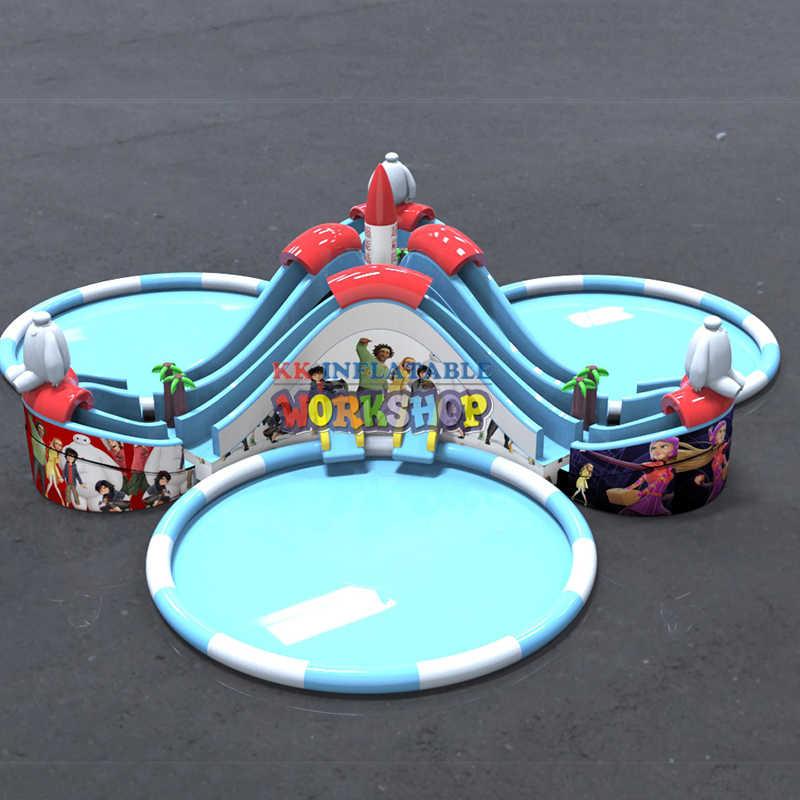 Toboganes Inflables Con Piscinas Para Niños Parque Acuático Hecho A Medida Tres Atractivos A La Venta Toboganes De Agua Para Jardín Aliexpress