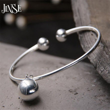 JINSE Pure 925 Sterling Silver Bracelets for Women Fine Jewelry Bangles & Double Balls Charm Chain Wedding Gifts