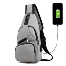 Male Leisure Sling Chest Pack Crossbody Bags for Men Messenger Canvas USB Chargi